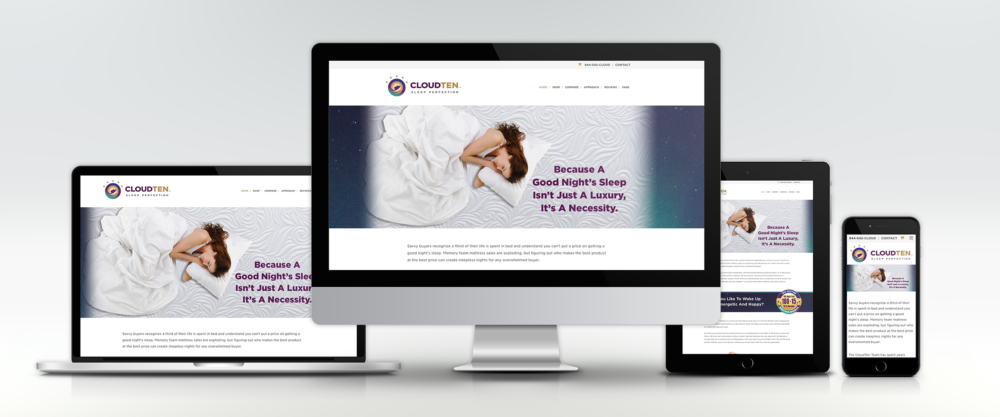 Cloud Ten Beds Website on Four Devices